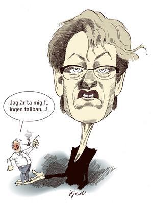 Gudrun Schyman. Indignationen blev stor när Gudrun Schyman på Vänsterpartiets kongress 2002 jämförde svenska män med talibaner.