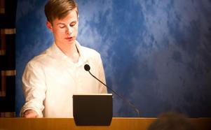 Pontus Sjölund (M) vars interpellation väckte debatt under kommunfullmäktiges sammanträde på måndagskvällen.