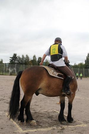 En liten liten ruta där man ska göra helt om, utan att kliva på eller utanför linjen av sågspån. Betydligt svårare för de större hästarna som Rebell. Sandra Persson instruerar så gott hon kan.