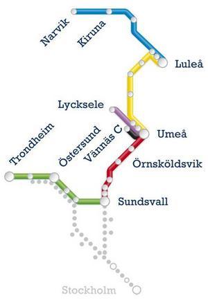 Här är samtliga linjer som Norrtåg trafikerar. Från Narvik i norr till Sundsvall i söder.