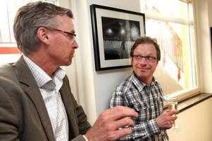 Gävletidningarnas sportchef Stisse Åberg och Peter Andersson från SVT.