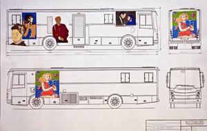 Så här kommer den nya bokbussen att se ut i Östersund, utsmyckad av Johanna Bahlenberg som på fredagen fick ta emot priset på 15 000 kronor för sitt förslag.Selma Lagerlöf kommer att åka runt i länet en hel del när den nya bokbussen fått sin nya utsmyckning