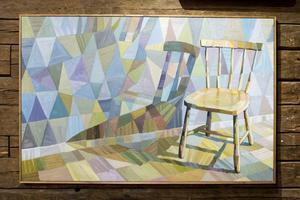 Mild kubism med en stol vilande i färgprismor. Peter Blanks Don't fence me in.