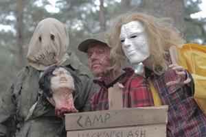Bild från inspelningen. Skådespelarna Biörn Andersson, David Dalling, Dylan M. Johansson