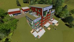 Skiss på hur byggnaden och området omkring är tänkt att se ut.
