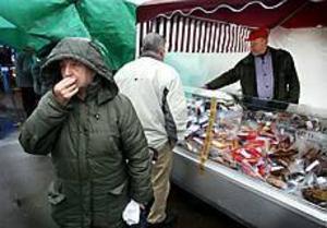 Foto: ANNAKARIN BJÖRNSTRÖM Kommers. Lokalt odlade pumpor och morötter trängdes bland paraplyer när Torsåker förvandlades till marknadsplats.