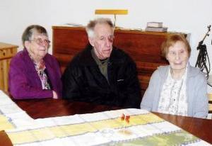 Tre veteraner inom länets SRF i samspråk. Från vänster Gullan Bergvall, 86 år och Georgibelle Fröjse, 84 år, flankerar Frans Jonsson, 82 år och från Bräcke. En trio som har mycket SRF-historia att berätta.