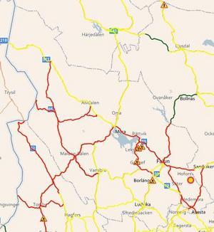 Karta: Trafikverket.Trafikverkets karta visar var halkan är extra svår .Röda sträckor visar var det är besvärligt väglag.