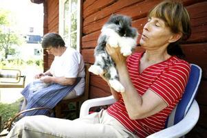 Ing-Marie Nordqvist med sin lejonmankanin sitter tillsammans med Svea Dahlbom som spinner garn från sina angorakaniners ull.