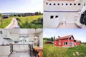 På Backan 47 i Rog utanför Bjursås ligger den här gården med utsikt över Rogsjön, där utgångspriset är 2 650 000 kronor.