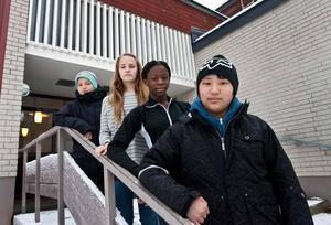 13-åringarna Adnan Cejvan, Stina Bäcklin, Sally Bojang och Jock Gunnarsson diskuterar hur mycket barn och ungdomar ska hjälpa till hemma.