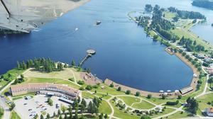 Trätrottoaren föreslås i motionen att dras från Scandic Hotel och halvvägs ned mot folkparken på Långnäs. Bland förslagen längs vägen finns kafé och handel.