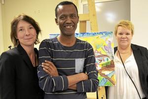 Inspiratörer. Elisabet Järlstam, Mulugeta Beraki och Satu Droudi har hållit i trådarna för konstprojektet.
