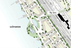 En bit ut från stranden, i höjd med Centralstationen, har kommunen lagt in en sjöpark i förprojekteringen av Storsjö strand.